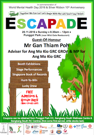 Escapade Was Organized By Silver Ribbon Singapore And Supported Sengkang South CCC To Celebrate World Mental Health Day 2016 With The Theme Together