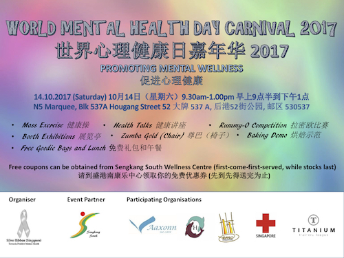Silver Ribbon Singapore With Support From Sengkang South CCC Organised World Mental Health Day Carnival 2017