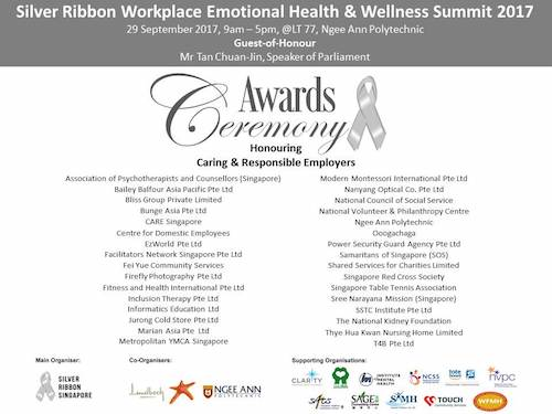 As The Theme For World Mental Health Day 2017 Is At Workplace Silver Ribbon Singapore Held Our Emotional